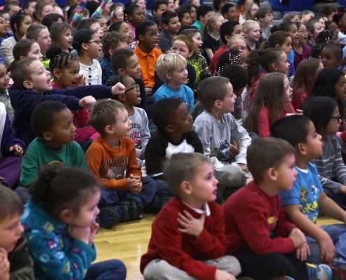 Students watch Laura Brown and Devon Watson perform as Jill and DJ Devy Watt during Jump with Jill Live Tour at Hunt Elementary School in Jackson Wednesday, February 4, 2015. (Danielle Duval | MLive.com)