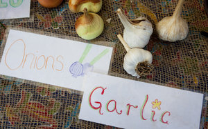 Homemade signs decorate the table at the Aya farmers market, where the kids of City Blossoms sell their produce on Saturdays. Lydia Thompson/NPR