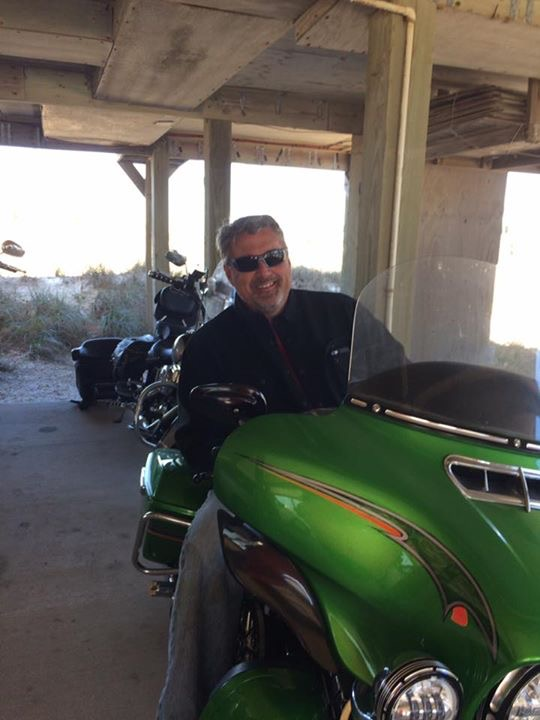 Chef Chris Murray on his Harley