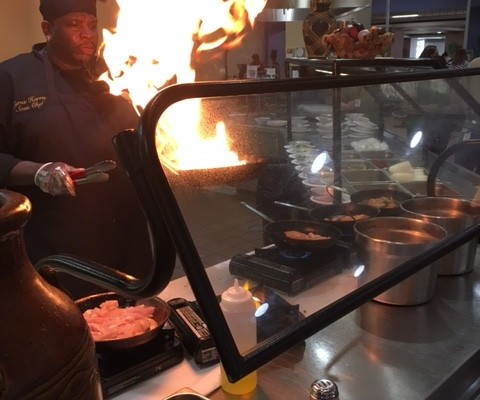 Flames and cooking at Indiana Government Center